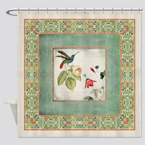 Chinoiserie Hummingbird n Exotic Fl Shower Curtain